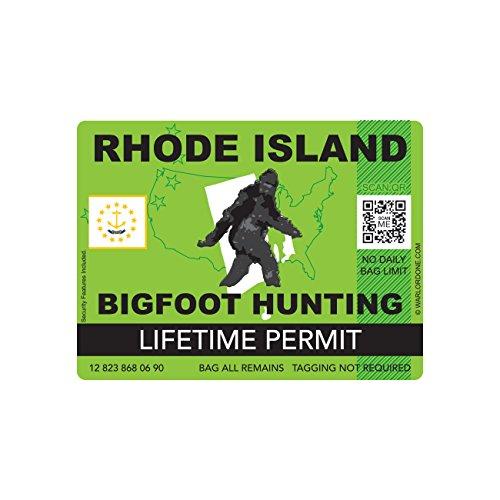 Rhode Island Bigfoot Hunting Permit Sticker Die Cut Decal Sasquatch Lifetime FA Vinyl