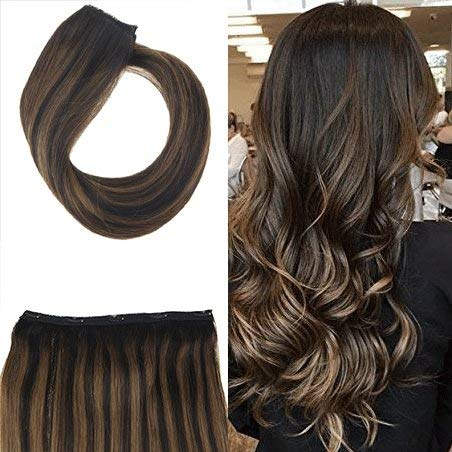 - Youngsee 3/4 Full Head Clip in Hair Extensions One Piece with 5 Clips Balayage Brown Mixed with Medium Brown Real Human Hair Silk Straight Clip in Extensions 70G 18
