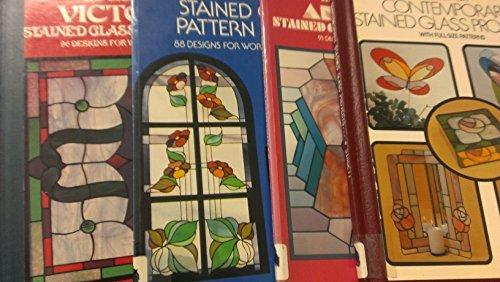 4 Volumes of Ed Sibbett Jr. Glass Pattern Books: Stained Glass Patterns; Contemporary Stained Glass Projects; Art Deco Stained Glass Patterns; Victorian Stained Glass Patterns