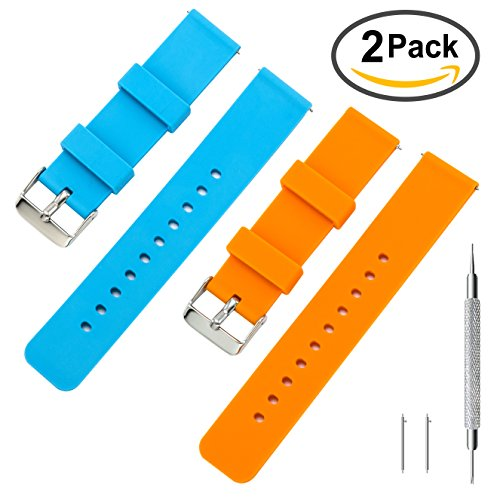 Rubber Watch Band Pack of 2 - 18mm 20mm 22mm Silicone Quick