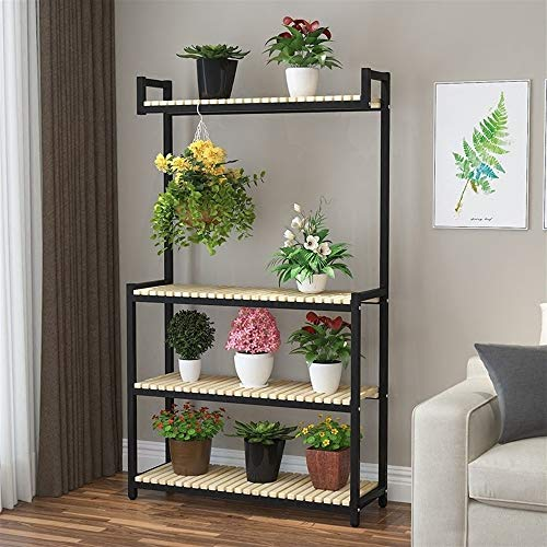 (Sevenpring Storage Rack Hanging Orchid Frame Balcony Shelf Wrought Iron Living Room Multi-Layer Solid Wood Flower Pot Rack Green Radish Meat Plant Stand Floor Type (Color : White, Size : 4 Layers))