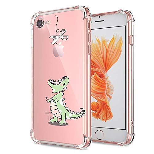 iPhone 7 8 Case Cute Clear with Design Funny Dinosaur Cartoon Animal Pattern Print Protective Case for Apple iPhone 7 8 4.7 Inch, Flexible Soft Rubber TPU Slim Fit Cover for Teens