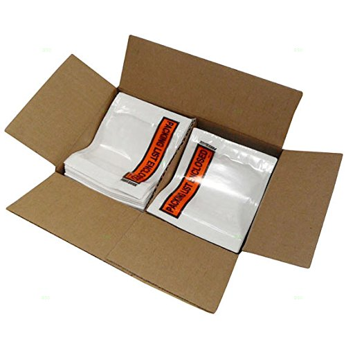 1000 Pc Case Clear Packing List Enclosed Envelopes Inventory Document Purchase Slip Pouch w/Adhesive Pack for Shipping Warehouse Retail by Brock