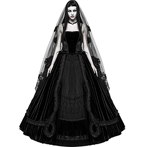 Punk Rave Black Romantic Gothic Victorian Ball Gown Long Wedding Prom Party Dress (Large)