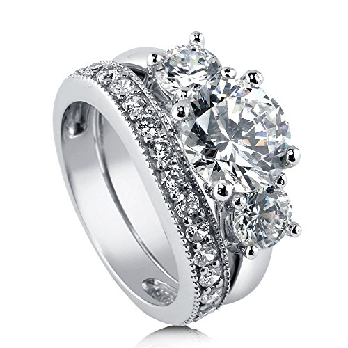BERRICLE Rhodium Plated Sterling Silver Cubic Zirconia CZ 3-Stone Engagement Ring Set Size 9 by BERRICLE