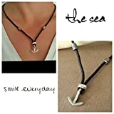 Anchor Nautical Men Necklace, Mens Leather Minimalist Jewelry