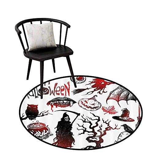 - Decorative Round Rug Halloween Decorations Collection Easy to Care Halloween Objects Scary Retro Evil Dead Skeleton Witch and Magic Book Picture Black Red D47(120cm)