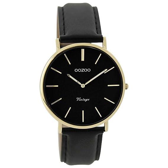 Oozoo Vintage Mujer Reloj Correa de piel 36 mm color Dorado/Negro/Negro c9301