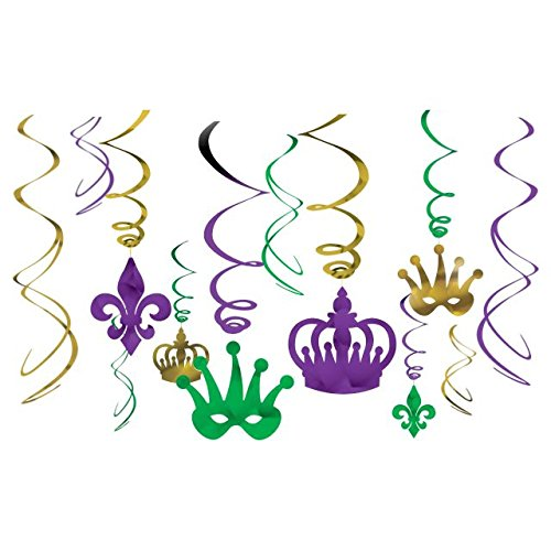 Mardi Beads Gras Swirl (Amscan Vibrant Mardi Gras Party Crown & Mask Swirl Ceiling Decorating Kit, Assorted Sizes, Multicolor)