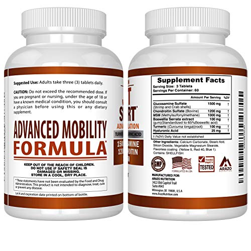 Glucosamine Chondroitin Turmeric MSM Boswellia - Joint Support Supplement for Relief 180 Tablets - Arazo Nutrition by Arazo Nutrition (Image #2)