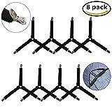 8 Pcs Bed Sheet Fasteners, AFUNTA Triangle Adjustable Elastic Gripper Clip Straps, Mattress Pad Corner Suspender Holder, 4 Pcs 3-Way and 4 pcs Straight - Black