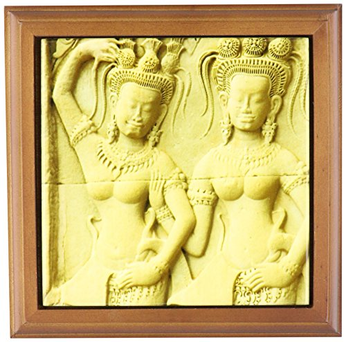 3dRose ft_75518_1 Cambodia SIEM Reap Angkor Wat, Apsaras, Temple-AS40 IHO0049 Inger Hogstrom Framed Tile, 8 by 8-Inch
