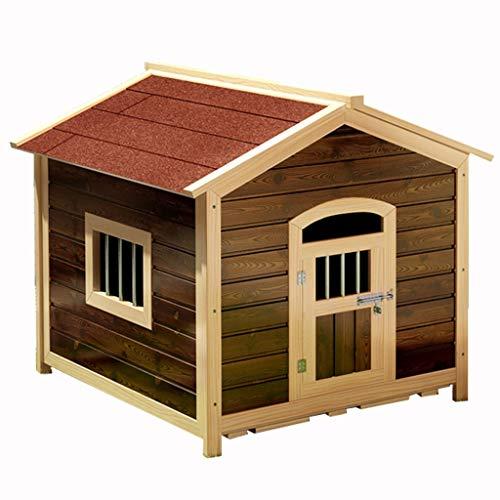 Casas para Perros Caseta de perro de madera maciza perrera carbonizada jaula para perros al aire libre jaula de perro grande...