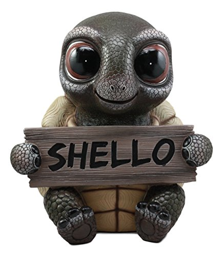 Sign Statue (Ebros Large Baby Turtle Holding Shello Sign Statue 13