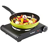 VonShef Premium Electrical Single Hot Plate / Countertop Hob 1500W - Stainless Steel - Black