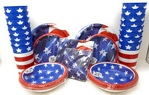 Flag Plates-Plates for Labor Day Disposible Plates Napkins Plastic Cups 6 Piece Bundle for 16