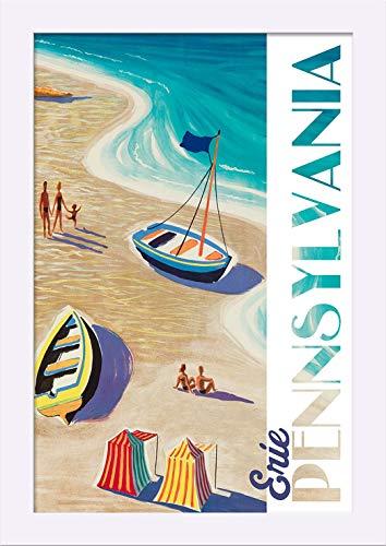 (Erie, Pennsylvania - Beach Scene - Vintage Refurb 99700 (12x18 Giclee Art Print, Gallery Framed, White)