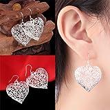 Alicenter(TM) Women 925 Sterling Silver Vintage Hollow Heart Dangle Hook Earrings Jewelry