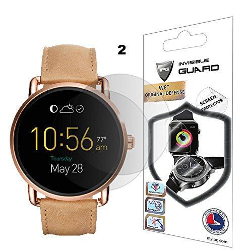 Fossil Q Wander Screen Protector (2 Units) Invisible Ultra HD Clear Film Anti Scratch Skin Guard - Smooth / Self-Healing / Bubble -Free By (Screen Unit)