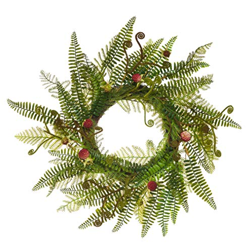 PINE AND PAINT LLC Fiddlehead Fern Raspberries Wreath Artificial 20 Inches Natural Twig Base (Frond Fern Fiddlehead)