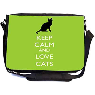 Rikki Knight Keep Calm and Love Cats Lime Green Color Design Multifunctional Messenger Bag - School Bag - Laptop Bag - with padded insert for School or Work - Includes UKBK Premium coin Purse