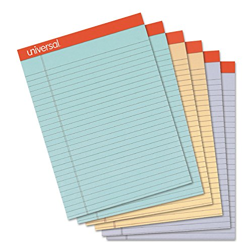 Universal 35878 Fashion Colored Perforated Ruled Writing Pads, Wide,8 1/2x11 3/4,50 (Fashion Colored Perforated Ruled Writing)