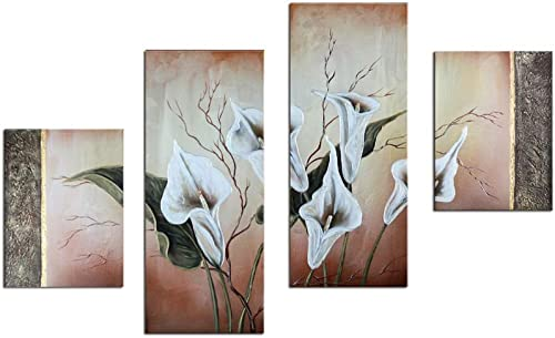 Noah Art-Contemporary Oil Paintings of Flowers, White Lilies Flower Pictures 100 Hand Painted Framed Flower Paintings on Canvas, 4 Panel Gallery Wrapped Canvas Floral Wall Art for Bedroom Home Decor