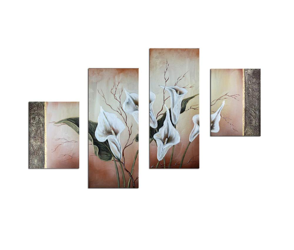 Noah Art-Contemporary Oil Paintings of Flowers, White Lilies Flower Pictures 100% Hand Painted Framed Flower Paintings on Canvas, 4 Panel Gallery Wrapped Canvas Floral Wall Art for Bedroom Home Decor by Noah Art