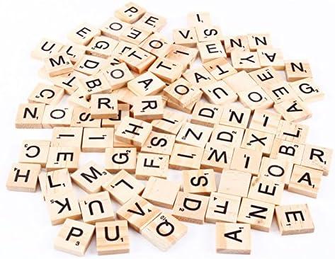 Vikenner 100 Piezas de Madera Letra del Alfabeto Scrabble Azulejos Scrabbles Número Artesanía Inglés Palabras: Amazon.es: Hogar
