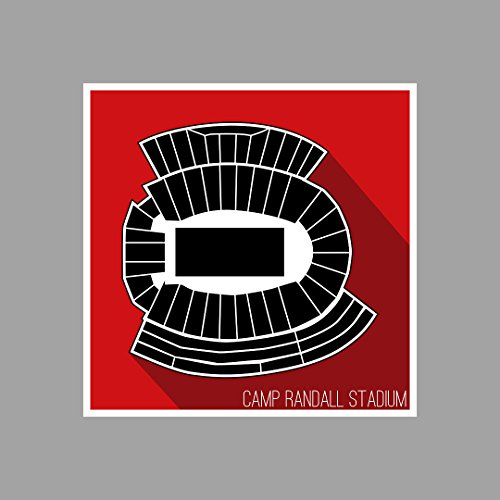 Wisconsin - Camp Randall Stadium - College Football Seating Map - 12x12 Matte Poster Print Wall Art (Football Wisconsin Stadium)