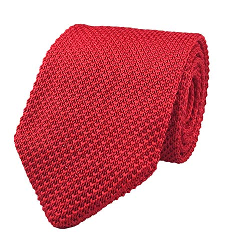 Men Boy Bright Red Knitted Neck Tie Accessory Narrow Necktie Gift for Husband BF