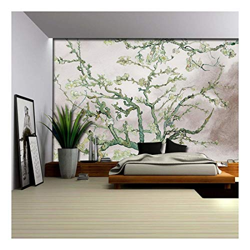 Green Almond Blossom Painting by Vincent Van Gogh on a Brown Watercolor Background Wall Mural
