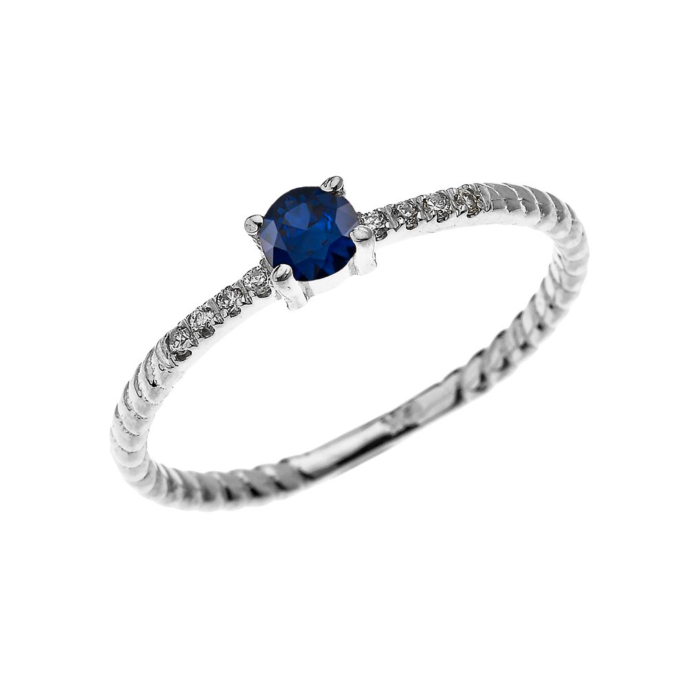 14k White Gold Dainty Diamond and Solitaire Sapphire Rope Design Stackable/Proposal Ring(Size 9.75)