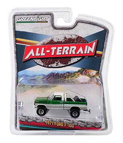 1971 Ford F-100 Pickup Truck with Tire Carrier Green and Cream All Terrain Series 7 1/64 Diecast Model Car by Greenlight 35110 B