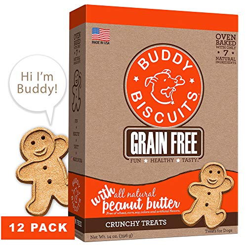 Cloud Star Grain Free Oven Baked Buddy Biscuits Dog Treats, Homestyle Peanut Butter, 14 oz, Pack of 12