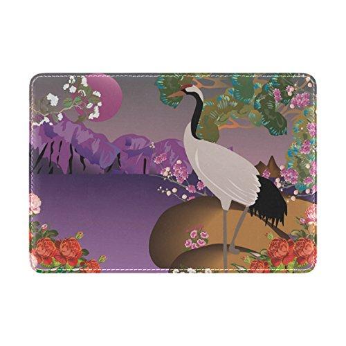 Coosun Crane In Spring Landscape Leder Reisepasshülle für die Reise eine Tasche