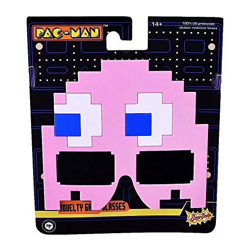 Sunstaches Pacman Pink Ghost Sunglasses, Party Favors, -