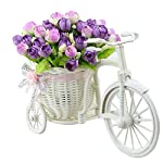 JAROWN-Mini-Garden-Artificial-Flora-Silk-Rose-Ddisy-Hand-Woven-Flower-Baskets-Bicycle-Stand-for-Home-Office-Decoration