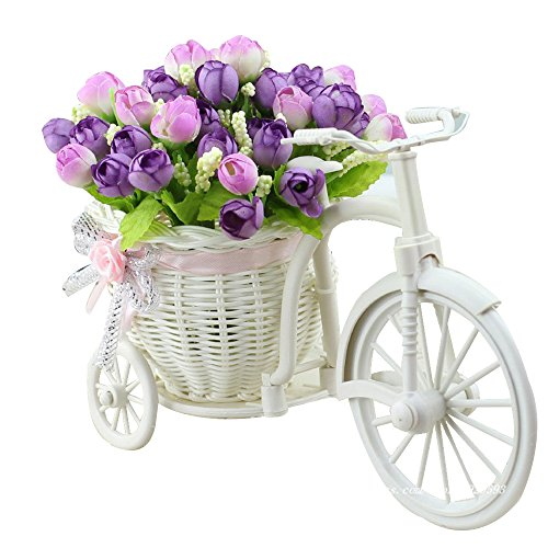 JAROWN Bike Artificial Flowers Handwoven Baskets Big Wheel Bicycle Plant Stand Mini Garden for Home Decoration(Light purple)