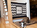 The Stair Barrier Wall to Banister Chevron with Welcome Patch Pet and Baby Safety Gate for Stairs, Multicolor, Wide