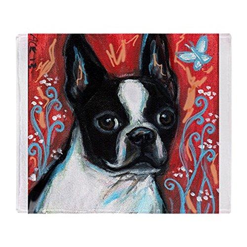 Boston Terrier Portrait (CafePress - Portrait Of Smiling Boston Terrier - Soft Fleece Throw Blanket, 50