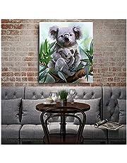LIPENGYU Tableau sur Toile Koala et Son bébé aquarelle-40x50cm sans Cadre