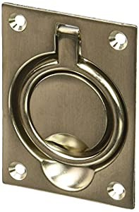 Baldwin 0395056 Flush Ring Pull, Lifetime Satin Nickel