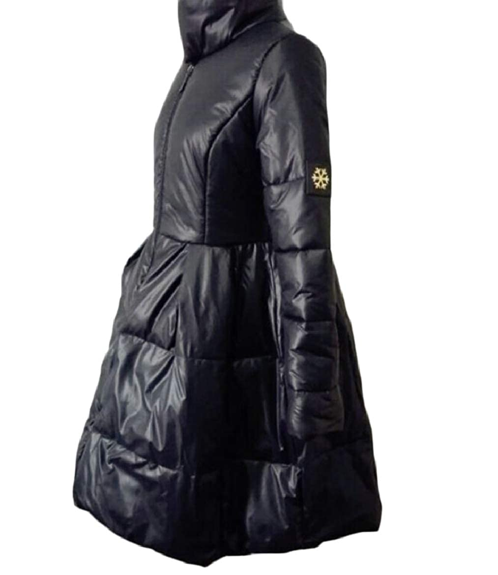 Black pujinggeCA Women's Stand Collar Pure color Thicken Zipper Long Down Jacket Coat