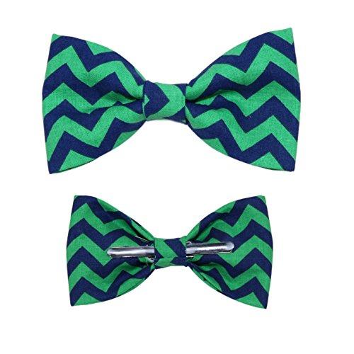 Boys Blue / Green Chevron Clip On Cotton Bow Tie