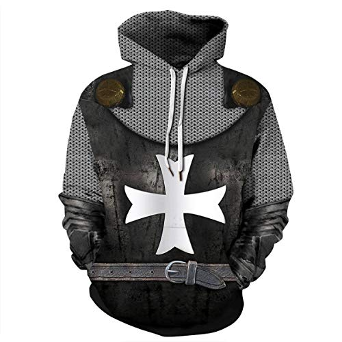Mosszra Retro Vintage Cosplay Costume Crusader Armor Knight Print Bundle Hoodies