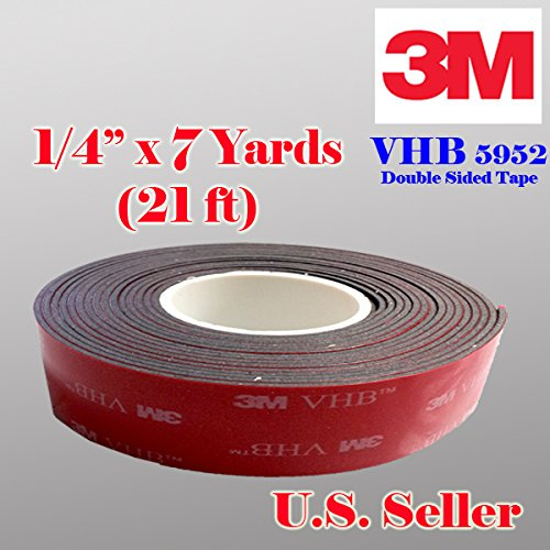 "3m 1/4"" (6mm) X 21 Ft (7 Yards) VHB Double Sided Foam Adhesive Tape 5952 Grey Automotive Mounting Very High Bond Strong Industrial Grade"