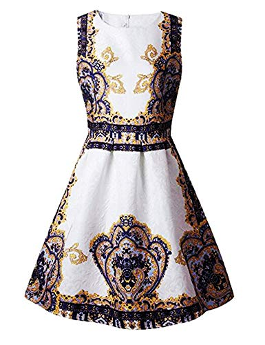 21KIDS Summer A Line Sleeveless Creative Art Colorful Crown Print Girls Floral Casual Dress,6,Crown
