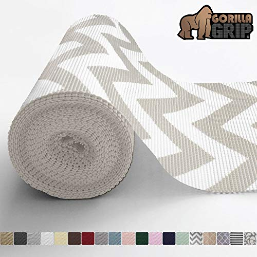Gorilla Grip Original Drawer and Shelf Liner, Non Adhesive Roll, 17.5 Inch x 10 FT, Durable and Strong, Grip Liners for Drawers, Shelves, Cabinets, Storage, Kitchen and Desks, Chevron Gray White