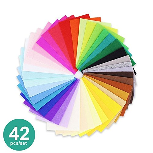 42 Pcs Assorted Color Felt Sheets Squares Fabric for DIY Craft Patchworks Sewing, 8 x 12 inches and 0.04
